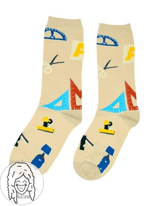 גרביים צבעוניות - גרבי בית ספר - בז'