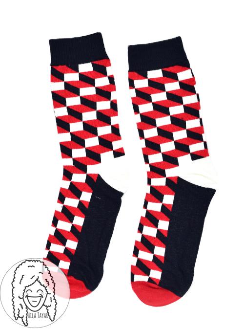 גרבי קוביות אדום