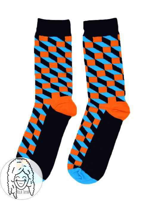 גרבי קוביות כחול וכתום